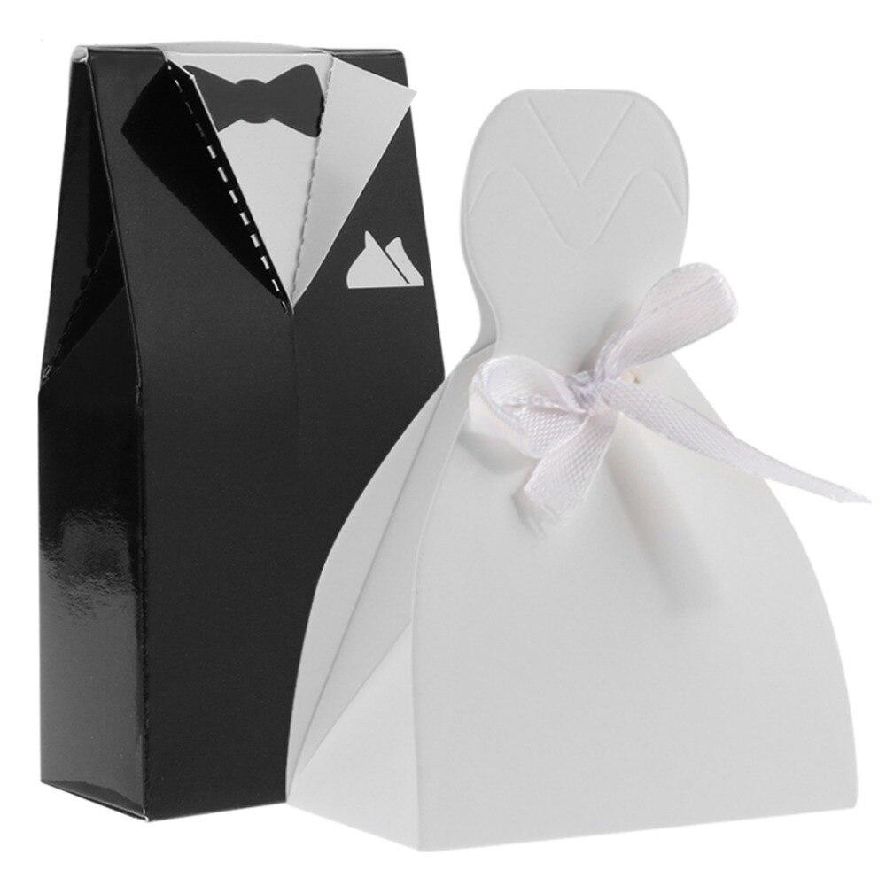 100Pcs/lot Wedding Candy Box Baby Gift Boxes Groom Tuxedo / Bride ...