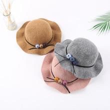Новая мода для девочек большой Брим Войлок шерсть шляпа фетровая шляпа детская зимняя Дерби Панама Кепка с козырьком от солнца 2-7Years