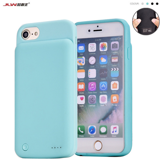 brand new 767f3 b5e8a JLW 3000mAh Rubber Battery Case For iPhone 8 7 6s 6 Smart Charger ...