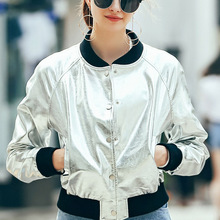 [XITAO] New autumn European wind fashion style solid silver color short slimming form single breasted female jacket MFB-002