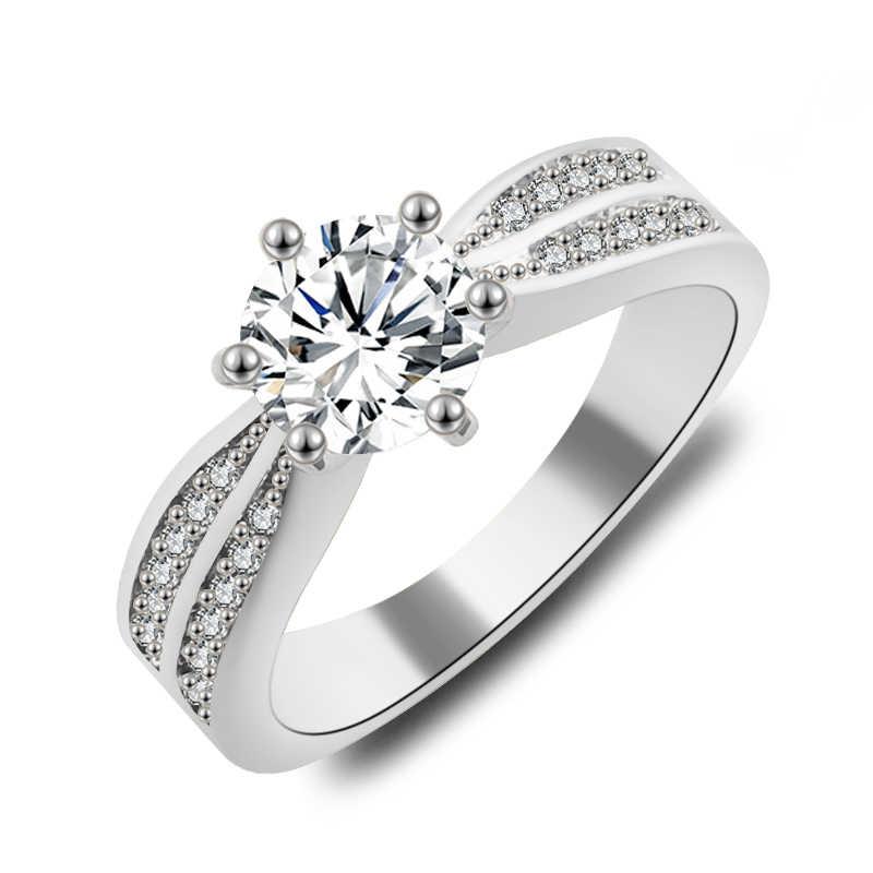 2017 Nueva joyería de moda mujer boda Arco Iris ópalo anillos coloridos CZ Rosa oro relleno anillo de compromiso regalos para San Valentín día