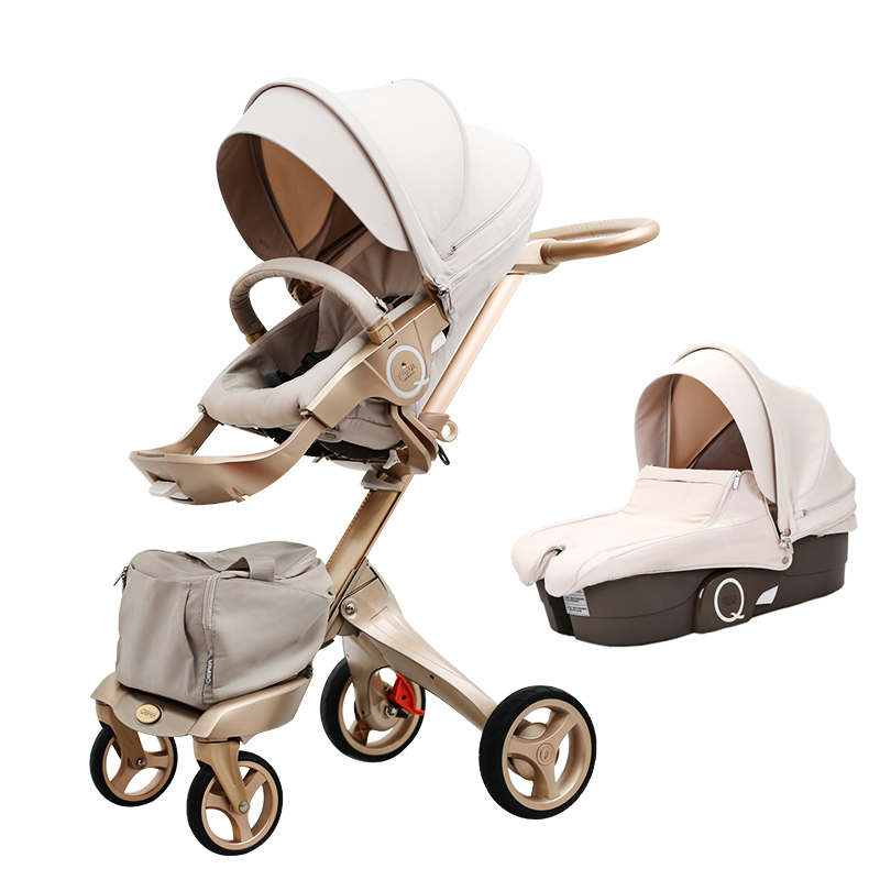 Free Ship! Luxury Baby Stroller High Landscape Portable Baby Carriages Folding Prams For Newborns Travel System 2 in 1 super light luxury baby stroller high landscape folding baby car shockproof portable prams and pushchairs for newborns 4 2kg