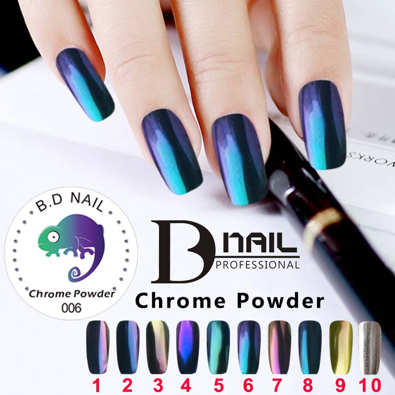 3g Box Mirror Nail Chrome Magic Powder 2 Brushes Mermaid Nails Pigment Round Glitter Brushed Effect In From Beauty