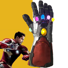 лучшая цена Iron Man Gauntlet With Led Thanos Infinity Gauntlet Avengers Endgame Iron Man Nano Gauntlet Armor Tony Stark Cosplay Props