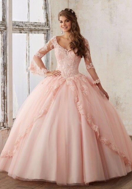 Mais recente projeto barato rosa vestidos de azul quinceanera 2017 tulle ball vestido sweet 16 vestidos de rendas princesa 15 anos vestidos de festa