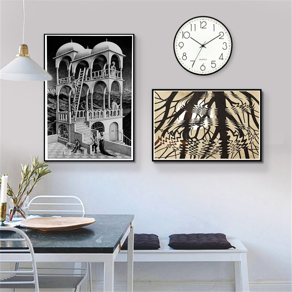 Escher Surreal Geometric Artwork Canvas Prints Oil Painting On Canvas Wall Art Murals Pictures For Living Room Decoratio