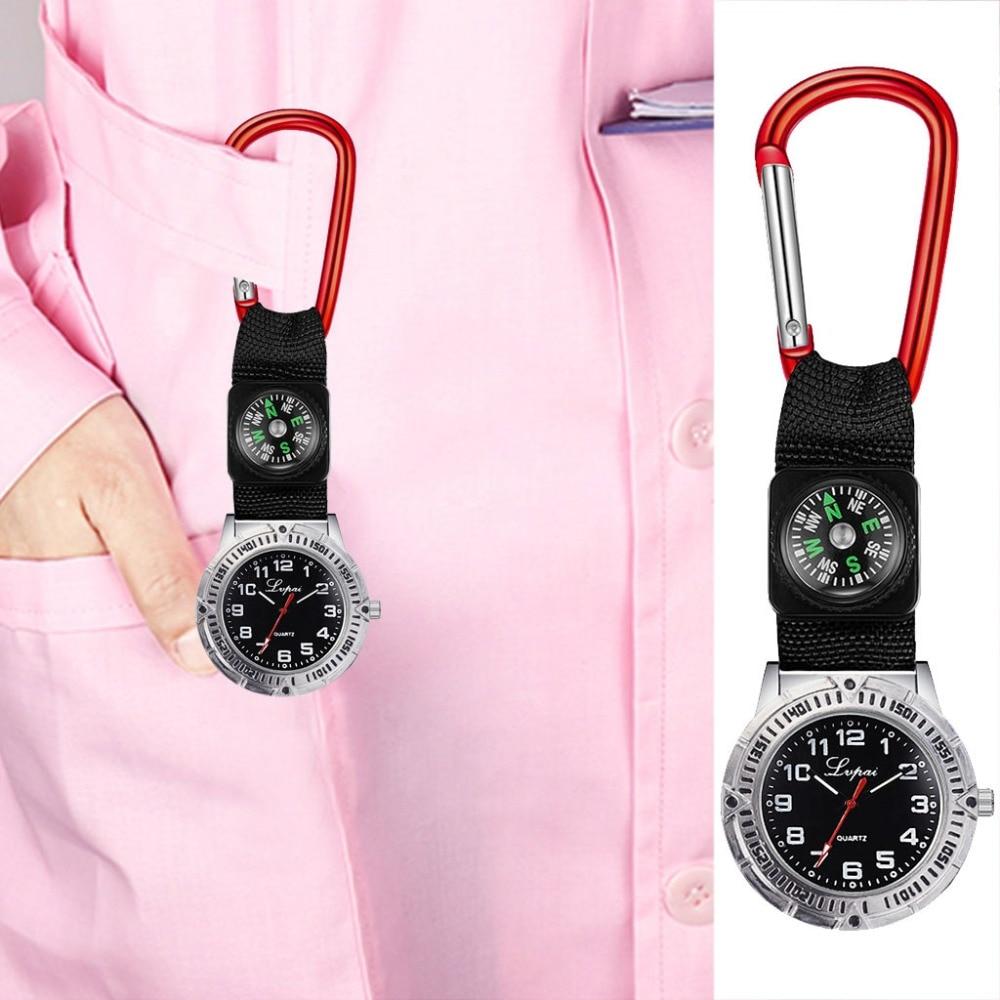 Hot Sale Clip Nurse Doctor Pendant Pocket Quartz Red Cross Brooch Nurses Compass Watch Fob Hanging Medical Reloj De Bolsillo@50