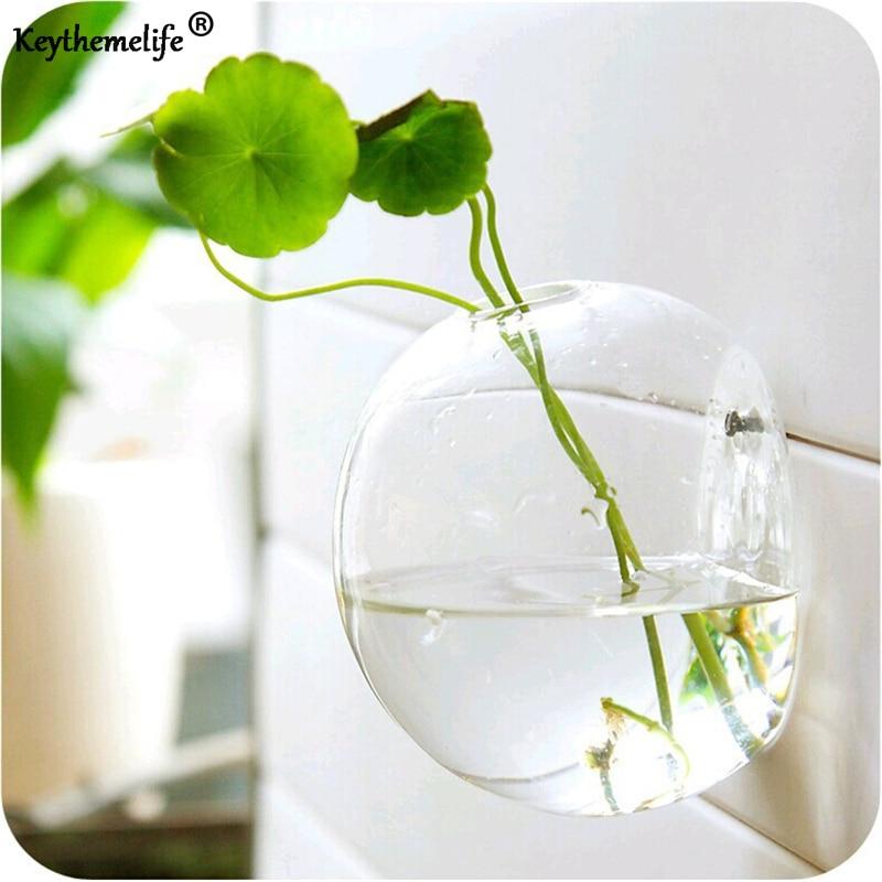 Semicircular קיר תליית זכוכית אגרטל הידרופוני Terrarium דגים טנק הצמח פרח עיצוב הבית קישוט החתונה ב