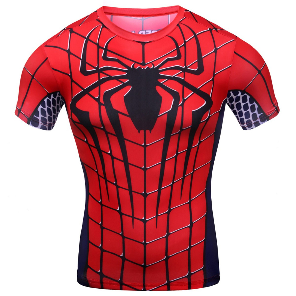 2016 cody lundin men 39 s clothing superman punisher spiderman red spider logo t shirt men gym. Black Bedroom Furniture Sets. Home Design Ideas