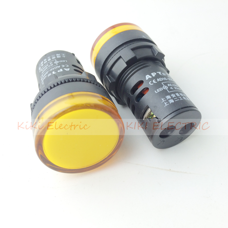 10 PCS Yellow LED Power Indicator Signal Light 24VDC 22mm Diameter  50mm Height