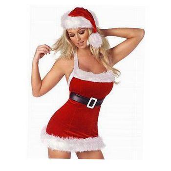 CFYH Donne Di Natale Vestito Rosso Sexy Costumi Di Natale Babbo natale per Adulti Uniforme Kimono Costume di Natale