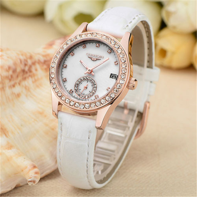 ФОТО Relojes Mujer GUANQIN Fashion Quartz Watch Women Luminous Waterproof Diamond Leather Watches Women Dress Clock Relogio Feminino