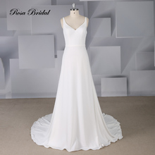 Rosabridal  A Line Wedding Dress 2019 new summer brief Ivory satin sweetheart Spaghetti Straps backless Bridal Gown With Sash