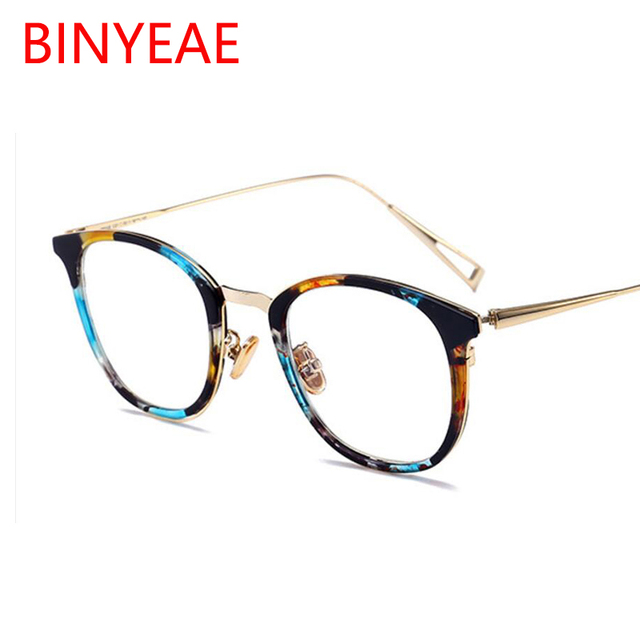 cbf3b4d843 round women s spectacles fashion Korean glasses frame retro student myopia glasses  clear blue flower cat eye optical glasses