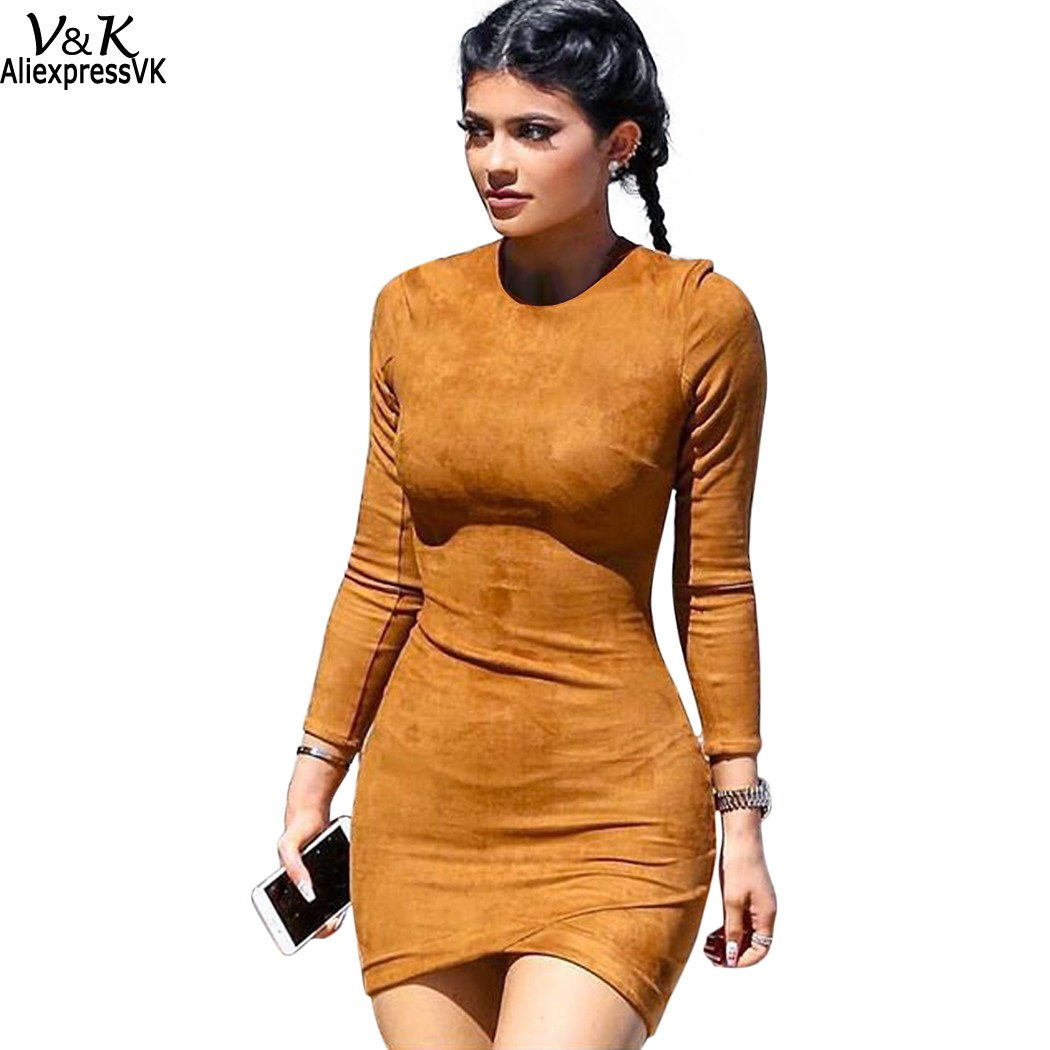 e156e15d8cce Women Long Sleeve Solid Sheath Dress Sexy Club Brown Winter Dresses Skin  Tight Faux Suede Bodycon mini Vestidos S XL 63-in Dresses from Women's  Clothing on ...