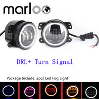 Marloo 4 Inch Fog Lights W White Amber Red Blue Green Pink DRL Turn Signal For