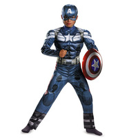 Genuine Boys Captain America Movie 2 Classic Muscle Halloween Cosplay Costume Superhero Superman Avengers Costumes For