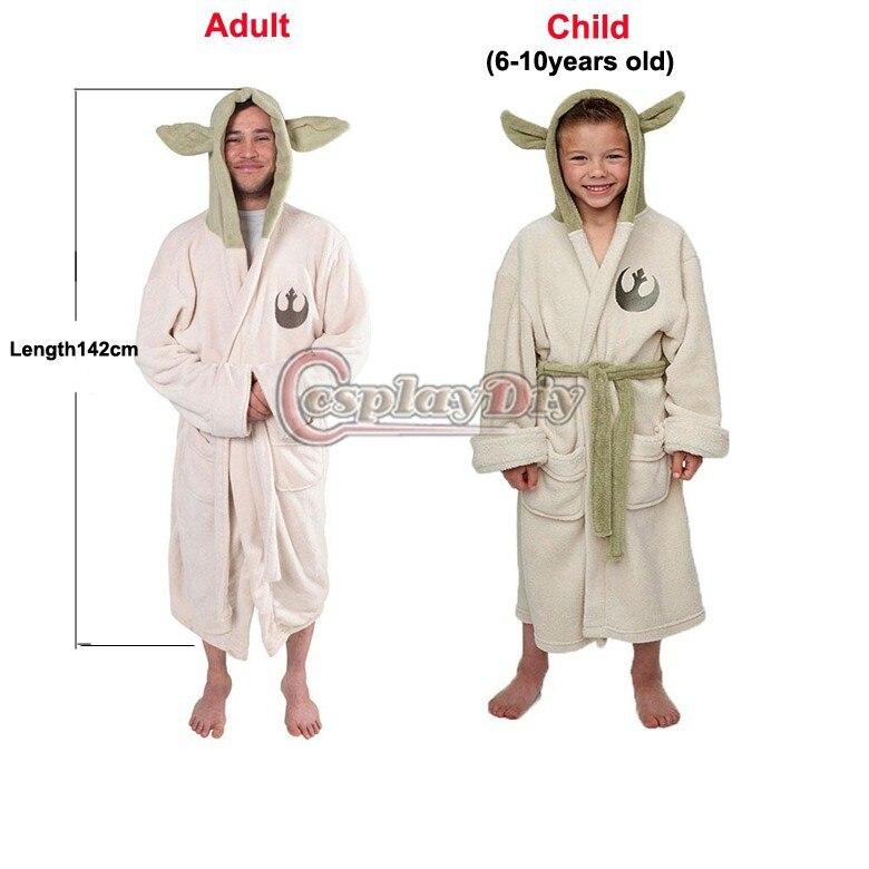 299a0451ef Star Wars Lucasfilm Yoda Robe Cosplay Costume Jedi Fleece Hooded BathRobe  Dress Gown Adult Kids Child ...
