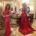 Sarahbridal Red Lace Sheath Celebrity Dresses Myriam Fares 2015 Sexy See Through Red Carpet Party Gowns With Long Satin Trains
