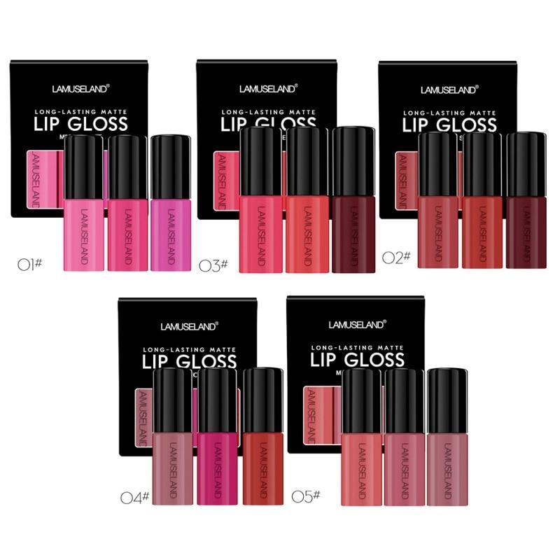 3Pcs LAMUSELAND Lip Glosses Set Long Lasting Waterproof Non-Stick Cup Liquid Lipstick Kit Multicolor Matte lip gloss Makeup Set 2