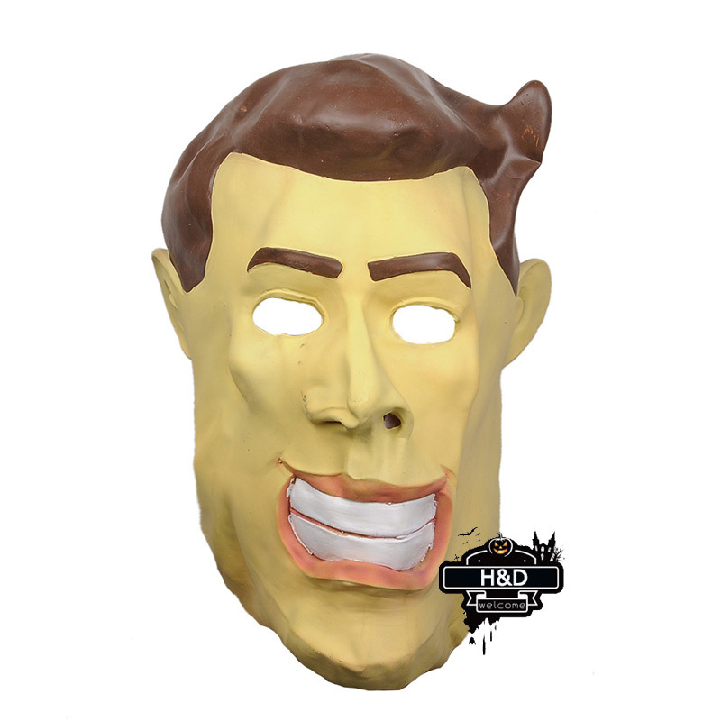 Latex Devil Full Head Yellow Face Man Ghost Mask Scary