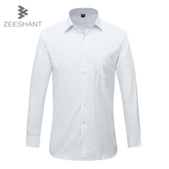 Zeeshant 2017 m-6xl de popelín sólido blanco de manga larga para hombre camisa de vestir de algodón suave delgado-fit camisa de los hombres camisas del smoking de