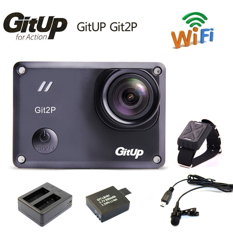 Gitup Git2P Novatek 96660 1080P WiFi 2K Outdoor Sports Action Camera Mic Remote Control Extra 1pcs