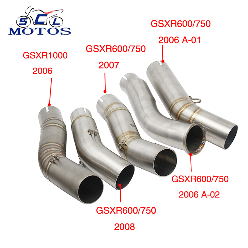 Sclmotos - Stainless Steel Motorcycle Exhaust Middle Pipe Link for <font><b>Suzuki</b></font> GSXR600 GSXR750 <font><b>K6</b></font> K7 K8 2006 2007 2008 <font><b>GSXR1000</b></font> 2006 image