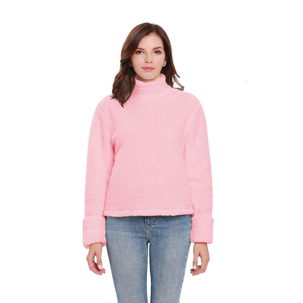 winter solid womens pullovers woolen soft material long sleeve sweatshirts out coats warm casual fleece shirts turtleneck in Hoodies amp Sweatshirts from Women 39 s Clothing