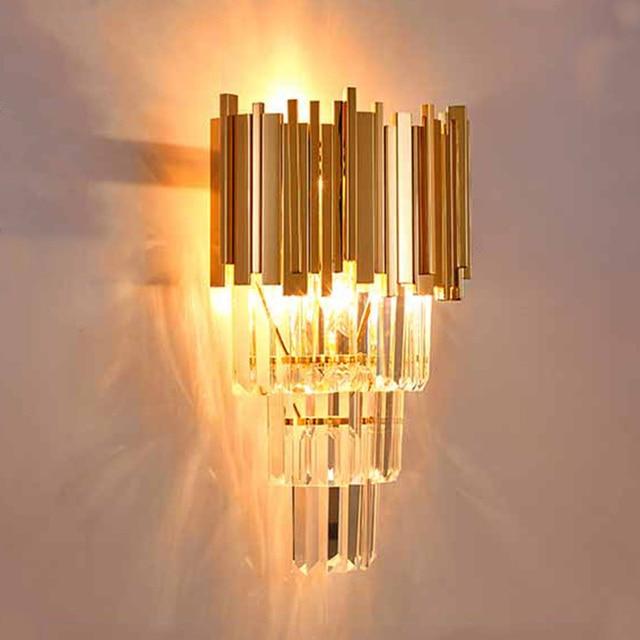 2017 Large K9 Crystal Wall sconce Gold Led indoor lighting Arandela Restaurant Living Room shopcase Luminaire E14 led wall Lamp