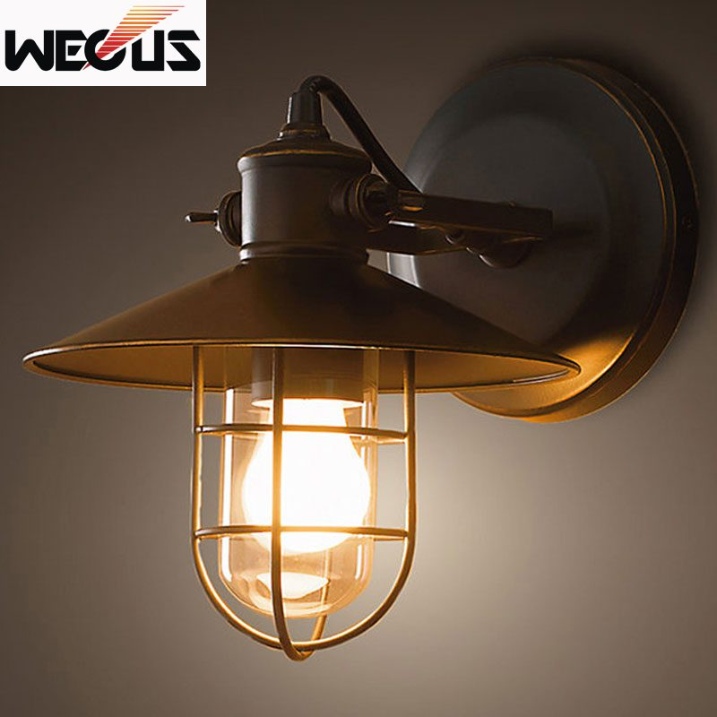 Creative American Loft retro industrial wall lamp porch balcony bedroom bedside corridor stair pub cafe wall lamp sconce bra
