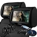"""Cubierta de La Cremallera negro 2X9 """"HD de Pantalla Táctil de Coches Reproductor de DVD Reposacabezas con 32Bit Game + USB + SD + IR/transmisor FM, auriculares INFRARROJOS"""