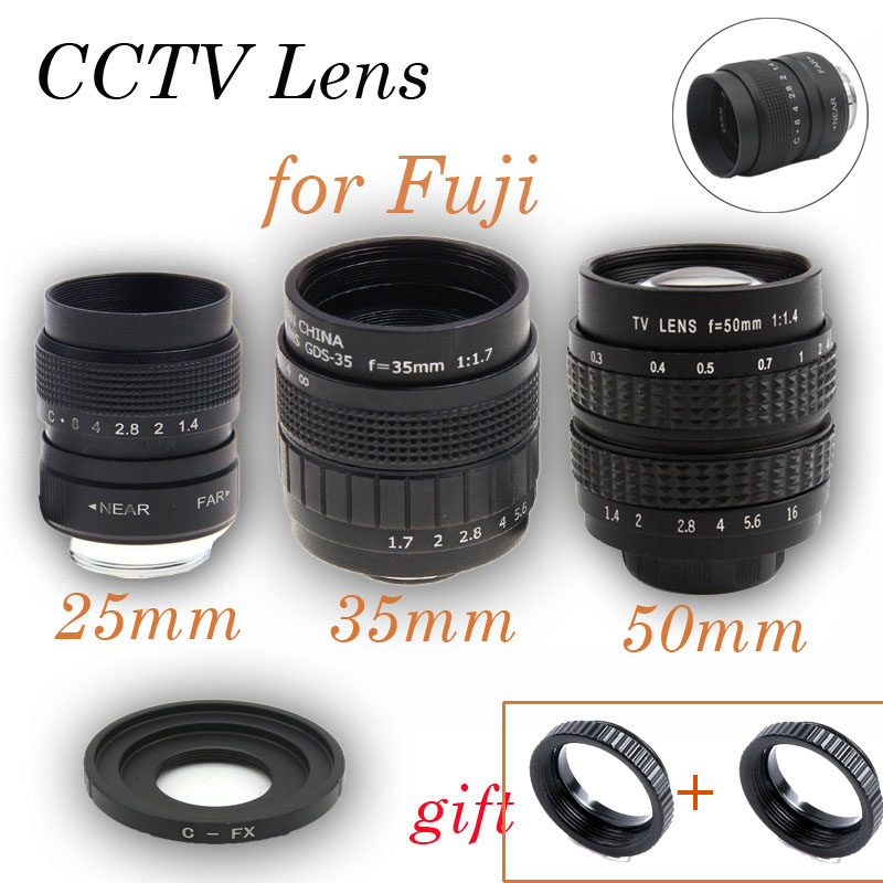 Fujian 3in1 25mm F1.4 35mm f1.7 50mm Movie CCTV Lens C-FX Mount Ring KIT for Fuji Fujifilm X-E2 X-E1 X-Pro1 X-M1 X-A2 X-A1 X-T1 pixco adapter suit for alpa lens to fujifilm x mount fx x pro1 x e2 x m1 x a1 x t1 x e1