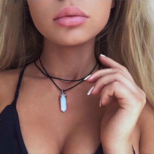 17KM 4 Colors Black Leather Natural Stone Tattoo Choker Necklace for Women Fashion Turquoise Beads Boho Gothic Jewelry Gift