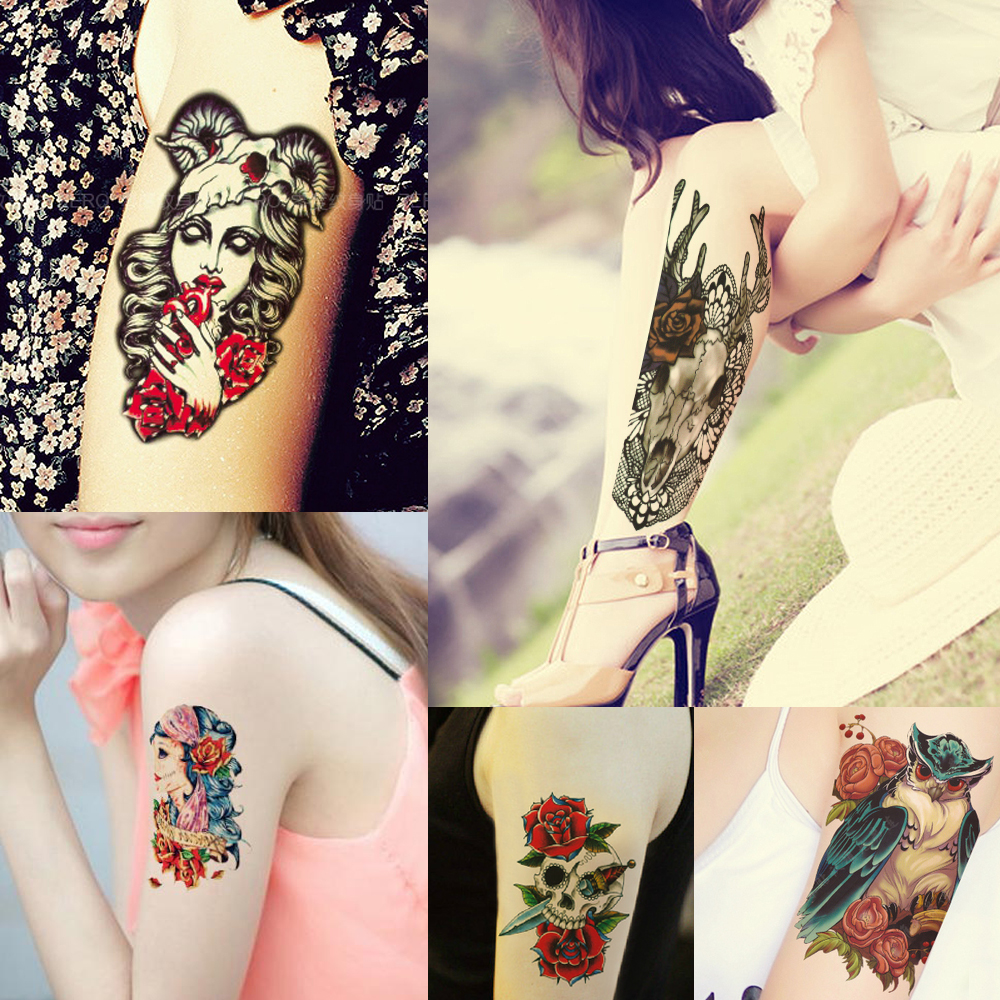 Pattern waterproof arm sleeve body shoulder temporary tattoo sticker - 1pc Fake Waterproof Temporary Tattoo Sticker Decal Skull Animal Flower Arm Body Back Leg Shoulder Pattern Body Art Tattoo Random In Temporary Tattoos From