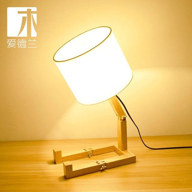 Edward wood lamp] Nordic fashion study bedroom bedside wooden wood robot folding table lamp