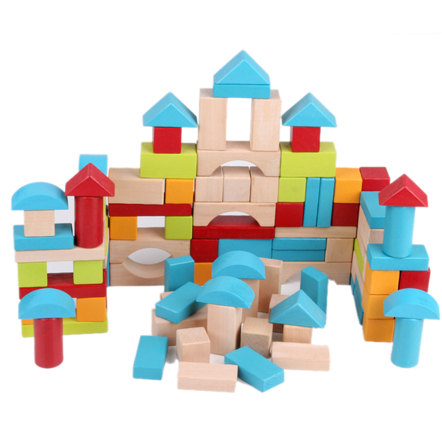 Merveilleux 100 Pcs Castle Blocks Multicolor Wooden Building Bricks Toy Set With Storage  Bag Baby Toy