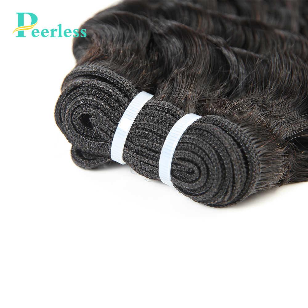 PEERLESS волос перуанских Девы пучки волос с закрытием глубокая волна 4 Связки с закрытием реальные человеческие волосы естественным Цвет