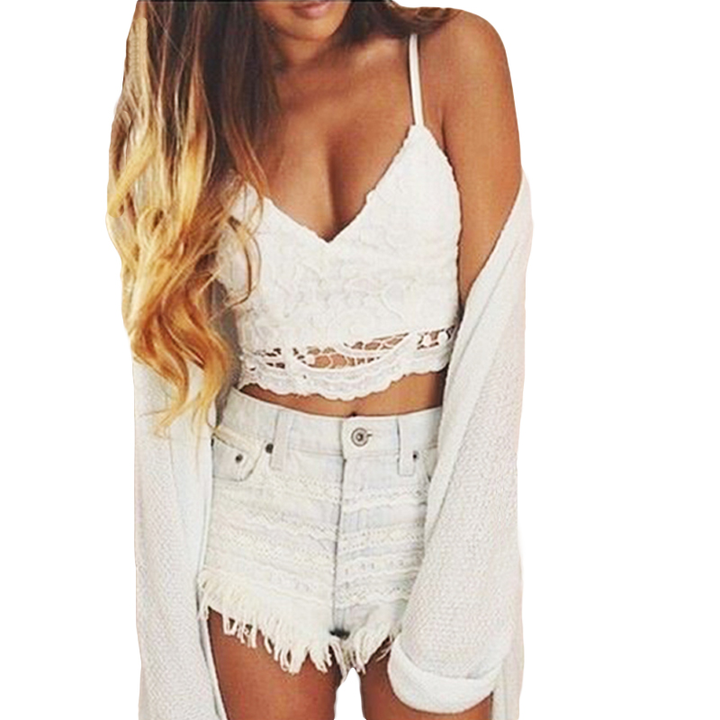 ANSELF 2019 Summer New Sexy Women Crop Top Knitted Crochet Bra Deep V Neck Spaghetti Strap