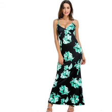 Summer Fashion Women Spagetti Strap Dress Sexy V-Neck Sleeveless Backless  Floral Print Maxi Dresses b312aa540f61