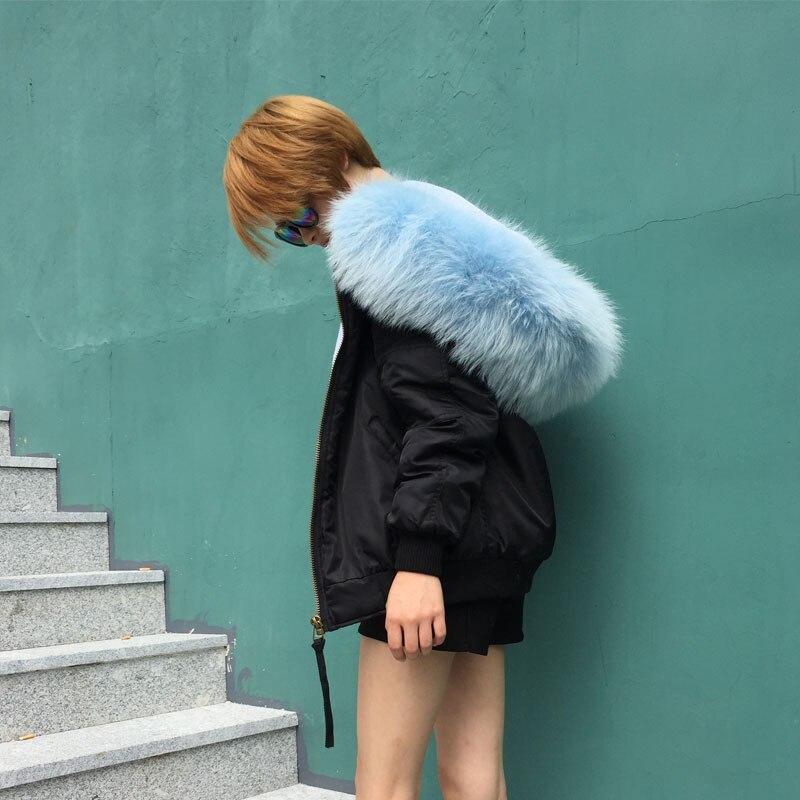 Fourrure Bleu Jzayv Hiver Raton Grand Laveur Manteau Ciel Qualité Bomber Doublé Streetwear Noir Épais Veste Col De Capuchon À Top Femmes Réel YYAPp