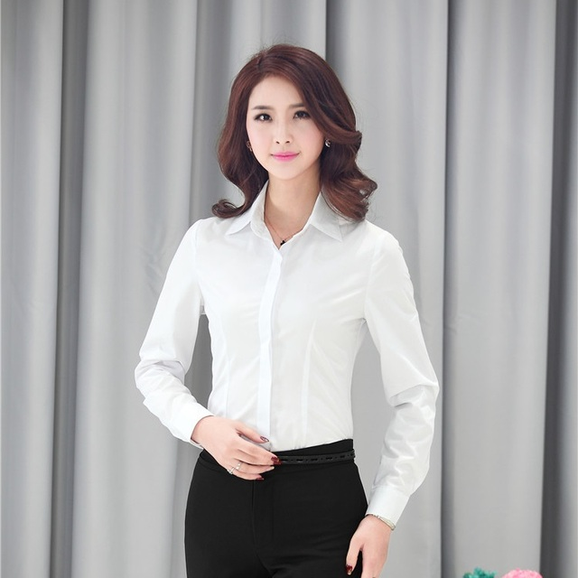 Formal Work Blouse Women White Shirts Long Sleeve Ladies Office ...