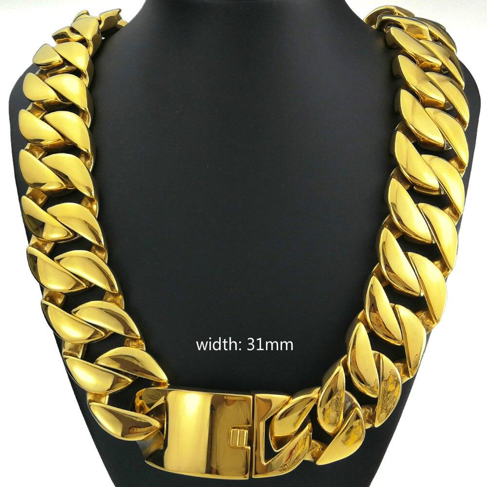 Or 18k rempli acier inoxydable 316L tout poli 31mm largeur très lourde longue chaîne 60-90cm collier bijoux N39 a