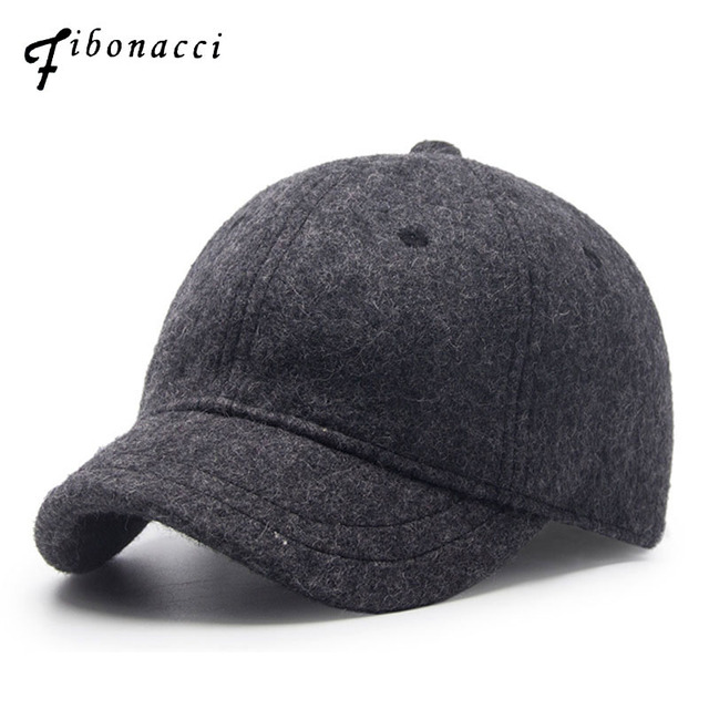 fdd83f06 Fibonacci 2017 New Short Brim Wool Baseball Cap Autumn and winter Men Women  for Hats Adjustable Snapback