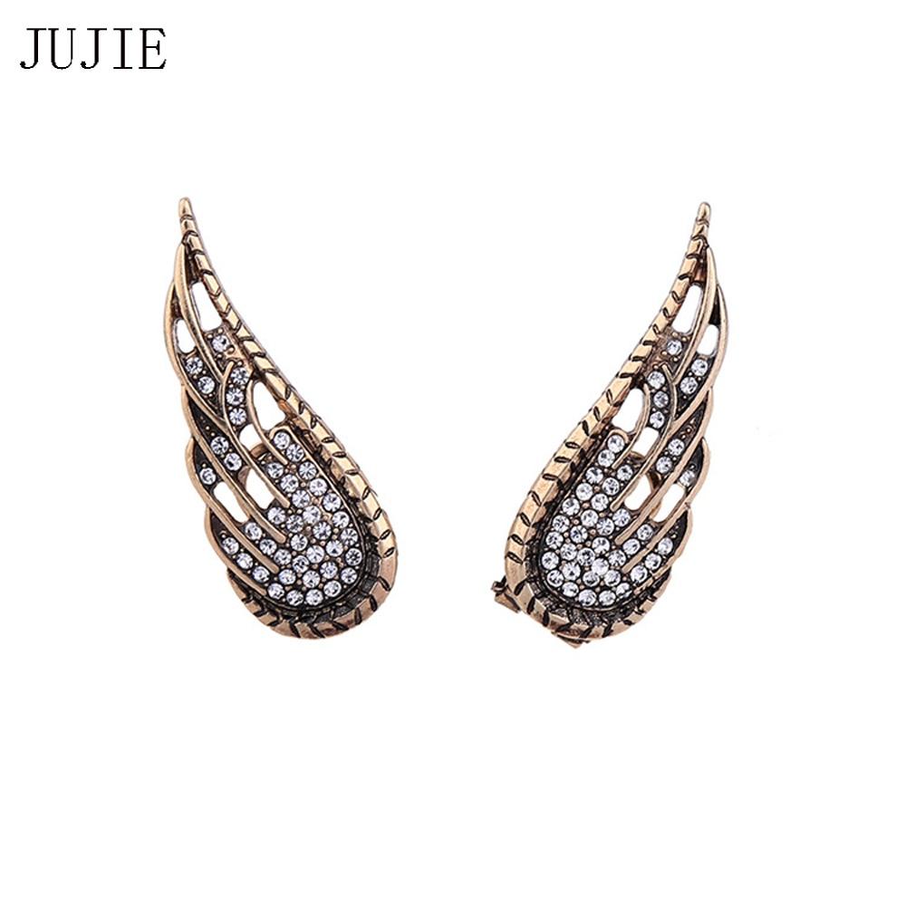 JUJIE Brand Gold Color Crystal Angel Wings Earrings For Women 2017 New Vintage Rhinestone Wing Stud Earrings Fashion Earrings