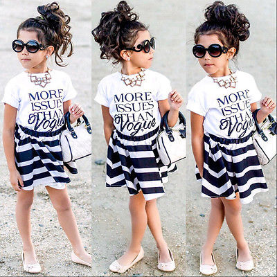 eb5b9d35014e New Fashion Children Baby Girls Brief T-shirt Tops Striped Mini Skirts  Outfits Set Summer Party Dress 2 3 4 5 6 7 Years