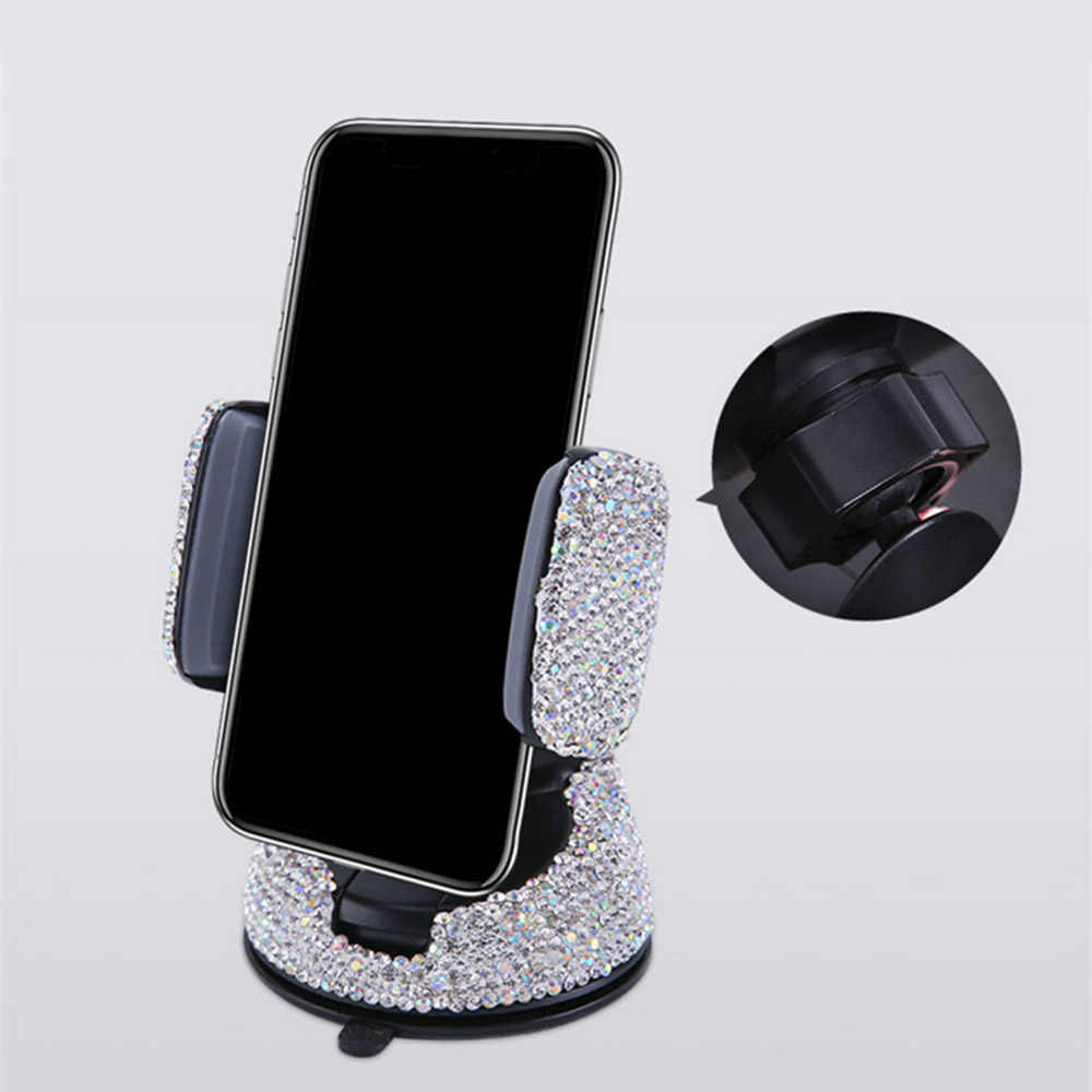 Universal Car Bracket Phone Mount Cell Phone Holder with Crystal Rhinestones for Dashboard Windshield