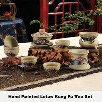 Um teaware antigo cerâmica grossa pintados à mão cerâmica chinês kung fu conjunto de chá giawan bule chá copo justo filtro de chá 9 pçs/sets set tea set tea cupset cup -