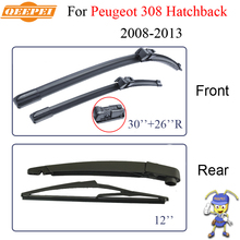 QEEPEI Wiper Blades For Peugeot 308 Hatchback 2008-2013 Nature Rubber Windscreen Car Brush Accessories Auto Parts CPC11804
