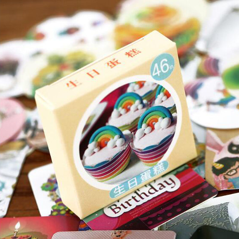 Купить с кэшбэком Cute Cake Foods Stickers Travel Decorative Stationery Stickers Ocean whale sticker Scrapbooking DIY Diary Album Lable 46pcs/box